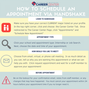 """How to schedule an appointment in Handshake. Log into Handshake and click """"Appointment."""" Select your college or school and then the type of appointment you would like. Select and date, time, and medium (phone, video, or e-mail). Request appoinment. A confirmation will come to you once your appointment is approved."""